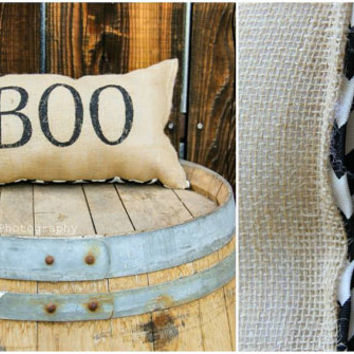 BOO Festive Halloween Home Decor 11X20 Throw Burlap Pillow-Cursive Lettering