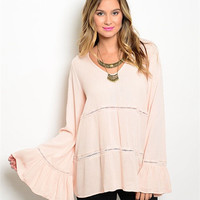 Bohemian Gypsy Flow Top Dusty Pink