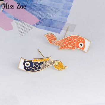 Trendy Miss Zoe Japanese-style Carp flag Carp festival Boy festival Brooch Denim Jacket Pin Buckle Shirt Badge Fashion Gift for Boys AT_94_13