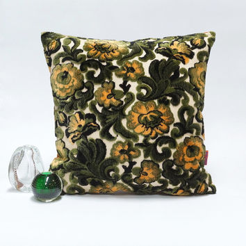 Luxury cut velvet floral pillow - Handmade with Love from vintage upholstery fabrics