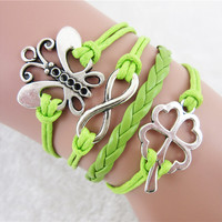 Fashion Jewelry Women Barcelet Butterfly Lucky Clover Eight word Charms Green PU Braided Wristband Lucky Bracelets