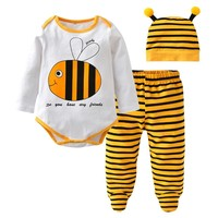New 2018 Autumn Newborn Toddler Clothes Baby Boys Girls Clothing Set Cotton Long sleeve Cartoon Bee style 3Pcs Outfits Set