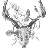 Deer skull and flowers - Temporary tattoo