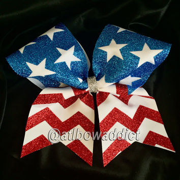 Cheer Bow - Chevron American Flag