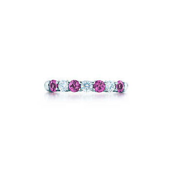 Tiffany & Co. - Shared-setting band ring with diamonds and pink sapphires in platinum.