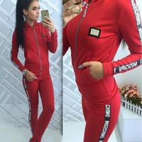 Day-First™ MOSCHINO Fashion Letters print hedging long sleeve pants two piece sweatpants