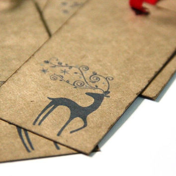 Christmas Gift Tag - Whimsical Deer - Handmade Holiday Hang Tag Set of 5 - Rustic, Vintage Inspired
