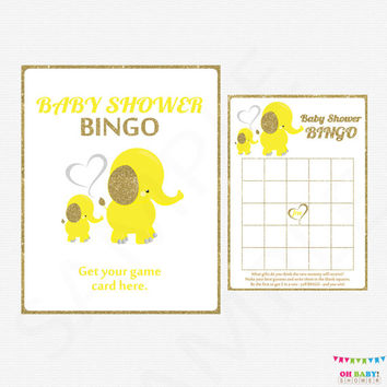 Elephant Baby Shower Bingo, Gold and Yellow Elephant Baby Shower, Gender Neutral Baby Bingo, Printable Baby Shower Games, download EL0004-yg