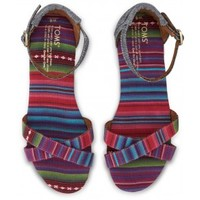 Pink and Blue Chambray Stripe Mix Vegan Women's Correa Sandals