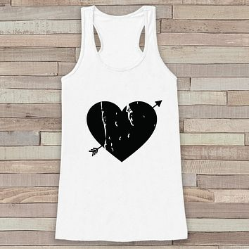 Womens Valentine Shirt - Cute Valentine's Day Tank Top - Women's Happy Valentine's Day Tank - Black Heart Valentines Shirt - White Tank Top