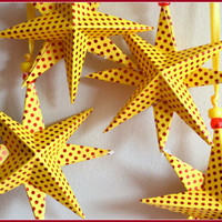 Birthday, Birthday Star Decoration, Yellow & Red Polka Dot Star, 3D Star, Mickey Mouse Party, Disney Inspired Bday Decor, B-day Star