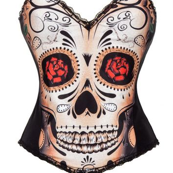 Skull Face With Floral Eye Print Waist Corsets And Bustiers Sexy Corselet Corset Burlesque Steampunk Costumes For Women