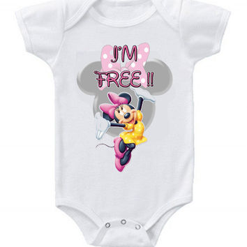 Cute Funny Disney Minnie Mouse Baby Bodysuits One Piece I'm Free!!