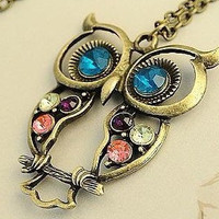 owl  necklaceantique brasscolorful crystal by sweethearteverybody