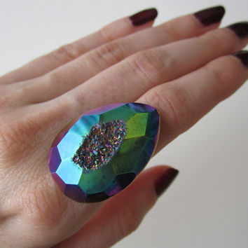 Rainbow Titanium Druzy Ring  Faceted Agate Drusy