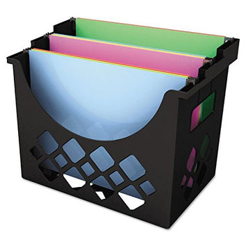 "Universal Recycled Desktop File Holder, Plastic, 13 1/4"" x 8 1/2"" x 9 5/8, Black (8123)"