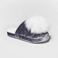 Women's Velvet Scuff Slipper with Pom - Xhilaration™