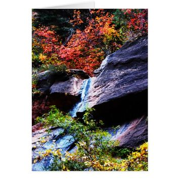 Autumn Waterfall 2 The Subway Zion NP Blank Inside Card