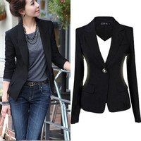 NEW Blaizers Women Slim One Button Short Blazer Suit  Long Sleeve BLACK 2016