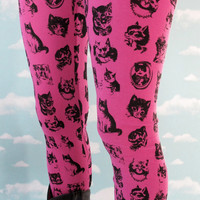 Pink Kitty Leggings. L