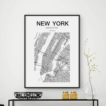 Sale!!! New York Map Print, New York Map, United States City, Manhattan Map, NYC Map Print, Manhattan Print Map, NY Print, NY Map, Usa map