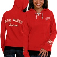 Old Time Hockey Detroit Red Wings Women's Red Queensboro Lace-Up Slim Fit Hooded Sweatshirt
