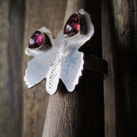Sterling Silver RIng with Butterflly and Pink by BijouxEmmElle