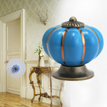 Blue 1X Vintage Pumpkin Door Knob Ceramic Door Knobs Cabinet Drawer Cupboard Kitchen Pull Cabinet Knobs Handles Cute Design