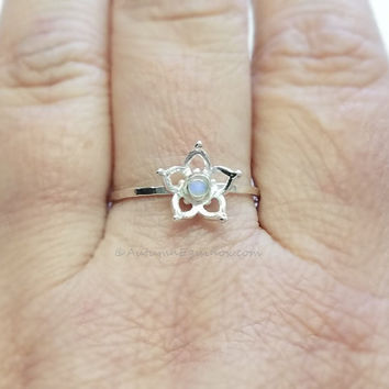 Rainbow Moonstone Ring Sterling Silver Flower Ring