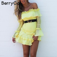 BerryGo Off shoulder ruffle lace dress women Hollow out sexy mini dress party 2018 Summer style backless white dress vestidos