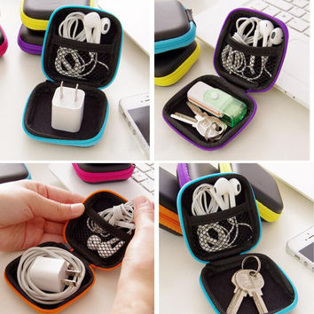 Earphone Headphone Headset Storage Bag Cover Case Portable Waterproof Hard Carrying Case For Earphones Charger USB Data Cable