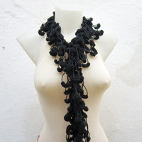 Hand crochet Long Scarf  Black  Mulberry Scarf  Pompom Fall Autumn Winter Accessories Fall Fashion