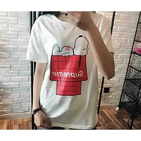 Snoopy & Supreme 2018 Counter Couple Summer T-shirt Short Sleeve F-AA-SYSY White