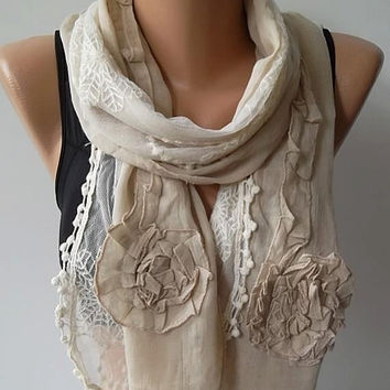 Cotton and lace scarf/shawl  beige