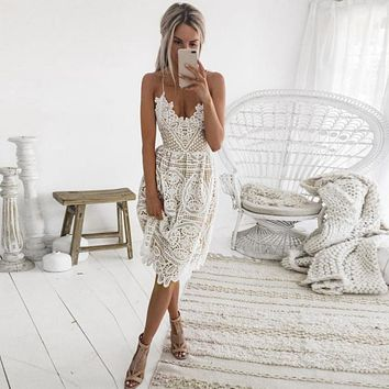 Sexy Women's Party Summer Dress w/Deep V, Backless, Lace, Sleeveless, Halter, Midi Dress