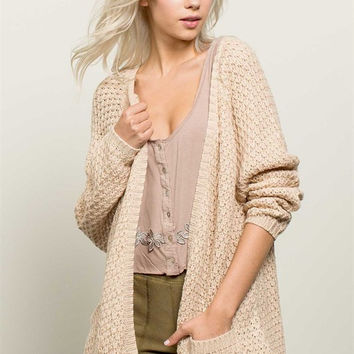 Shawl Style Open Front Knit Cardigan Sweater