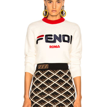 Fendi Fendi Mania Logo Cropped Sweater in White | FWRD