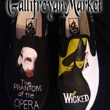 Hand Painted Shoes Inspired by Wicked and Phantom of the Opera (Vans, Converse, Toms) from GallifreyanMarket