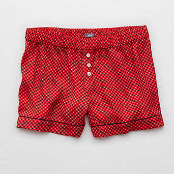 Aerie Rise & Shine Satin Boxer , Red