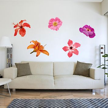Colorful Hibiscus Set Wall Decal Sticker