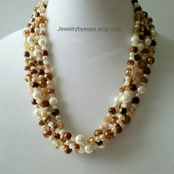 Gold Crystal Necklace Pearl Necklace Statement Necklace Brown Layering Necklace Wedding Gifts Jewelry