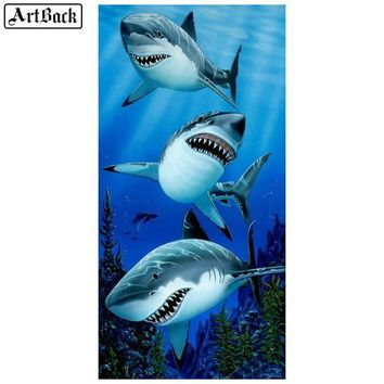 5D Diamond Painting Three Sharks Kit