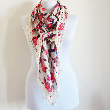 Large Triangle Scarf, Women Accessories, Scarves, Red Flower Pattern, Women Scarves