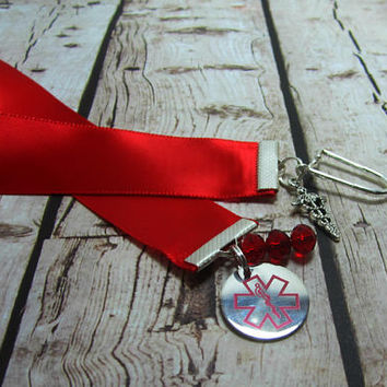 Nurse Bookmark Doctor Ribbon Bookmark Medical Worker Paramedic Caduceus Stainless Steel Tag Stethoscope Charm Red Satin Ribbon 154B