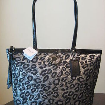 COACH SILVER & BLACK OCELOT LEOPARD Print Signature Stripe Tote Bag handbag $298 on eBay!
