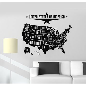 Vinyl Wall Decal USA Map State Of America United States Patriotic Stickers Mural (g1043)
