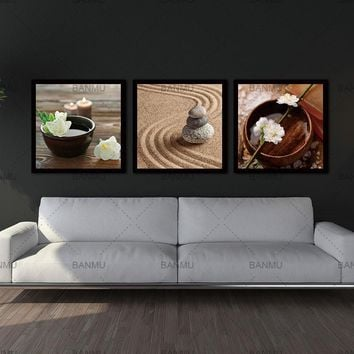 Modern Flower in Bowl with Water and Candle Zen Wall Art  -  5 Size Options