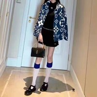 """Louis Vuitton""Women Clothes Fashion All-match Edgy Cool Blue Scalloped Geometric Pattern Print Long Sleeve Loose Lapel Cowboy Coat"