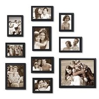 Adeco PF0038 10 Pieces Picture Frame Set - Included: Three 3.5x5, Four 4x6, Two 5x7 and One 8x10 Inch Black Photos Frames - Wood Decoration for Wall or Table Top