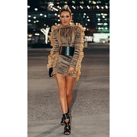 Stealing The Spotlight Brown Sheer Mesh Ruffle Long Sleeve Mock Neck Ruched Bodycon Bandage Mini Dress